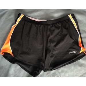 Saucony Black and Orange Running Shorts - Medium